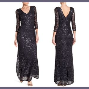 NWT $169 Marina Sequined Lace Gown in Gunmetal 12